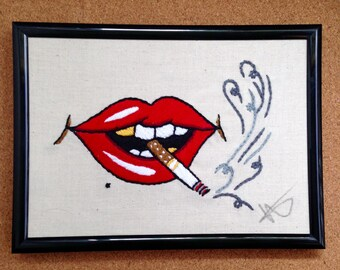 Smoking lips tattoo flash Embroidery