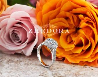 2.0 CT Round Bezel Set Engagement Ring in 14k/18k White Gold ,Halo Bezel Engagement Ring, Moissanite Bezel Engagement Ring , Bezel Set Ring