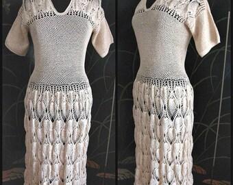 Antique Crochet Dress / 40s Crochet Dress / 1940s Crochet Dress / Vintage Crochet Dress / fits XS-M / Vintage Hand Crochet Dress