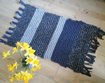 Hand Knitted Scatter Rug