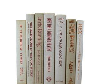Vintage White Books, Cream Books, Bridal Shower Books, Beige Ivory Decorative Books, Photo Props, Wedding Decor, White Home Decor, Old Books