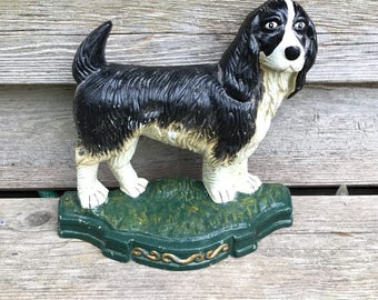 Dog Doorstop, Cast Iron DoorStop, Fire Place Decor. Spaniel Ornament. Dog  Garden