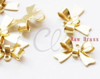 30pcs Raw Brass Bow Link - Earring Findings 15.5x10.5mm (2016C-P-340)