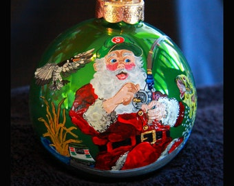 Hand Painted Ornament- Santa Fishing-Item 208
