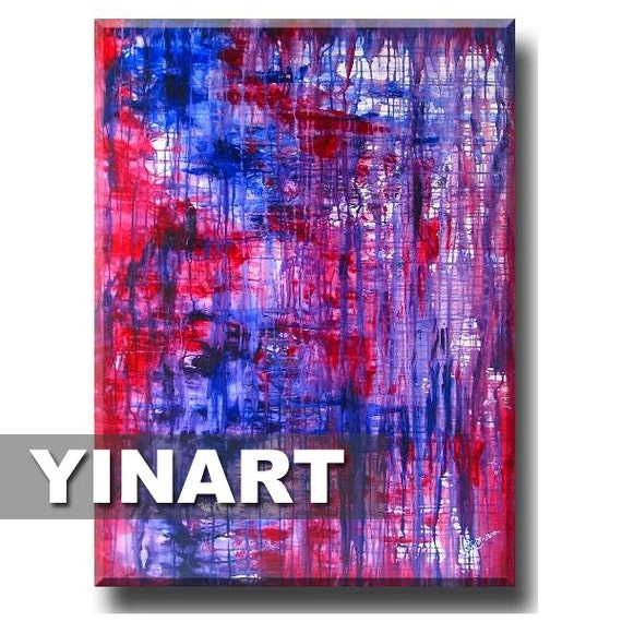 """large wall art, landscape painting, red blue purple abstract painting, Global Warming Art (Trapped 36""""x48"""" Yin Lum)"""