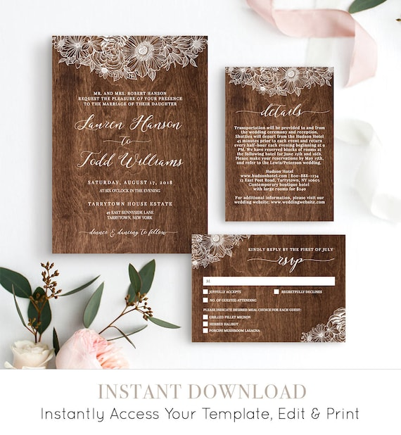 Wedding Invitation Set, 100% Editable Template, Rustic Spring Flowers, Printable Invite, RSVP, Details Card, Instant Download, DIY #025A