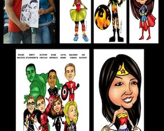 17 Person Superhero Caricature Gift, Custom Digital Cartoon Drawing, Superhero Comic Book Artist Caricature,  Personalized Caricature