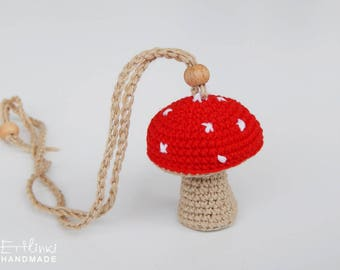 Kids Necklace Mushroom Pendant Children Jewelry Crochet Cotton Yarn Charm Gift Idea For Little Girl Birthday Present