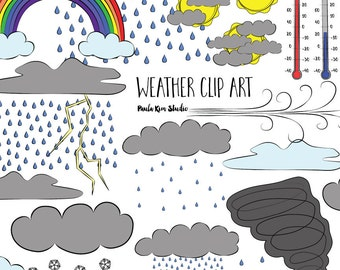 Digital Download Weather Clipart, Commercial Use Weather Clip Art Instant Download, Weather Image Set