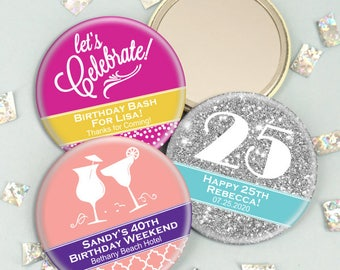 Birthday Favors for Adults Mirrors, Personalized Mirrors, Mirror Favors -  Set of 24