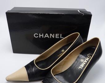 Vintage Chanel Black Leather Pumps *In Original Box*