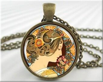 Mucha Primrose Necklace Alphonse Mucha Art Jewelry Resin Art Pendant Round Bronze Gift Under 20 Art Nouveau Charm (169RB)