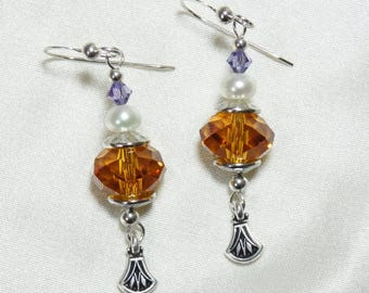 Topaz Faceted Crystal Earrings with Freshwater Pearls