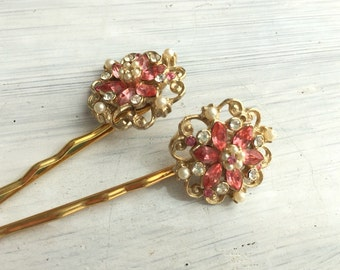 Blush No.3 - Vintage Blush Pink and Gold Hair Pin Set, Bridal Hair Pins in Soft Pink