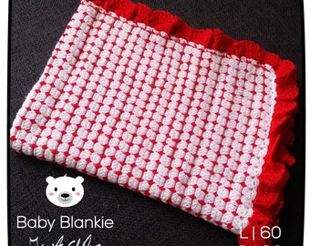 White blanket with red-60 x 90 cm-Handmade-crocheted