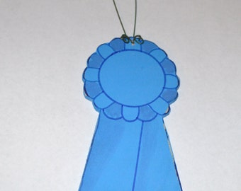Fast Shipping - Personalized Wooden Blue Ribbon Award Christmas Ornament - Your Name - Hand Painted Wood