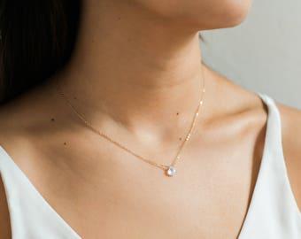 Dainty Rainbow Moonstone Necklace / Delicate Moonstone Necklace / June Birthstone Necklace / Dainty Layering Necklace / Bridesmaid Necklace