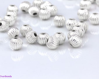 6mm - 50Pcs.925 Sterling Silver FLUTED, corrugated, Round Beads, POLISHED, spacer beads, Made in the USA, High Quality OV29