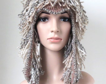 Fuzzy Winter Hat with Tassels, Adult Animal Hat with Horns, Unique Festival Clothing, Shaggy Earflap Hat