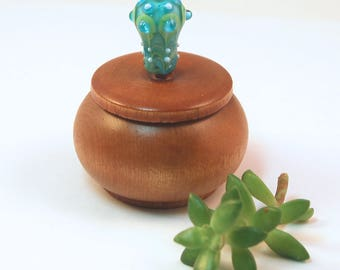 Tiny Wood Trinket Box with Aqua Lampwork Glass Victorian Bauble Knob/Finial