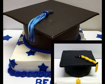 Handmade edible Graduation hats and diploma cake topper!