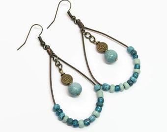 Teal Boho Hoop Earrings, Boho Style Hoop Earrings, Bohemian Style Earrings, Beaded Hoop Earrings, Gift For Her