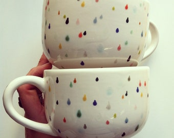 rain drop latte mug set - hand painted with lovely colorful drops