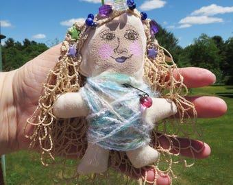 Gertie, Mixed Media Art Doll Fabric Fiber Art Original Painted Face