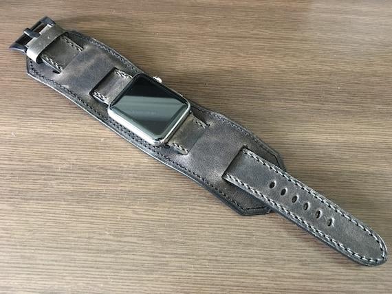 Apple Watch Band | Apple Watch Strap | Vintage Leather Cuff Watch Band | Vintage Dark Grey Leather Cuff Watch Strap For Apple Watch 42mm