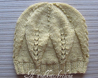 Knitting Pattern #5 Hat With Large Leaves Pattern in Sizes Child and Adult