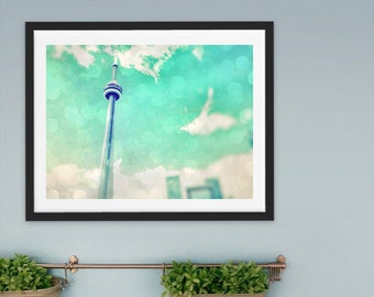 Toronto Print CN tower wall art light blue wall home decor sky clouds photography wall art urban decor Instant Download Print