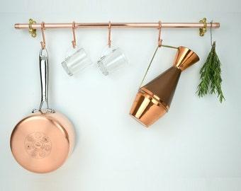 Copper Pot And Pan Rail, Pan Organizer, Kitchen Storage, Utensil Storage Holder, pan rails-copper rails-copper pot and pan hangers-handmade