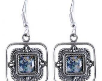 Filigree Dangle Earrings, 925 Sterling Silver Earrings, Ancient Roman Glass Earrings, Roman Glass Jewelry, OOAK