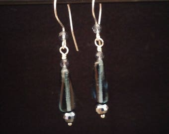 Unique grey-blue glass and crystal earrings