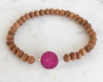 Hot pink druzy sandalwood bracelet, modern stacking gemstone bracelet, sandalwood beaded bracelet, elastic gemstone bracelet, yoga jewelry