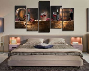 5 Piece Wine Home Oil Painting Canvas Print