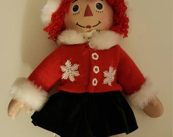 Porcelain and Plush Holiday Raggedy Ann