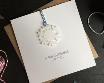Merry Christmas Brother // Christmas Card with Frosted Perspex Snowflake Tree Decoration