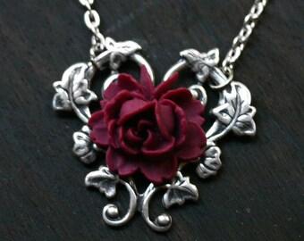 Red Rose Necklace - Alice in Wonderland