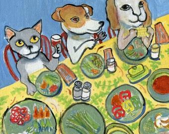 "Animal art card. ""Vegetarian Banquet"", blank inside,"