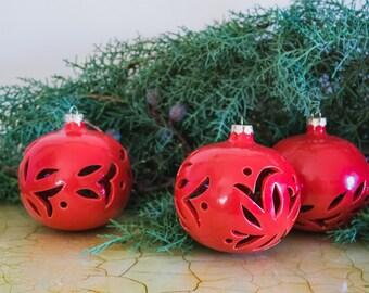 Ceramic Christmas ball to hang, collectible, Christmas decoration, red decor