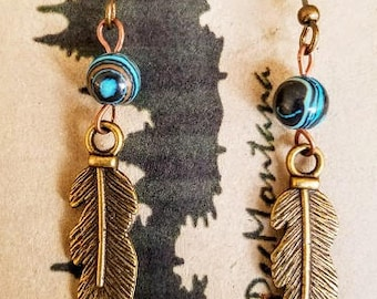 SCE Peg Montana rainbow turquoise brass feather charm earring with french wires