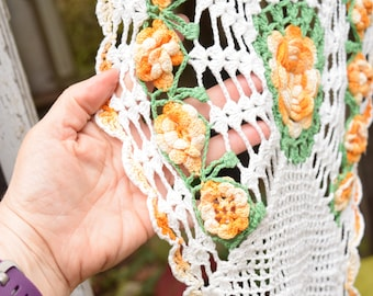 """Vintage Hand Crochet Doily with Rosettes Orange Green and White 25"""" x 12"""""""