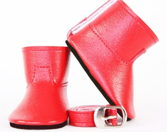 Handmade to Fit like American Girl Doll Boots, 18 Inch Doll Boots, MODERN HIPSTER Ankle Boots & Thin Belt, Available in 20 Custom Colors