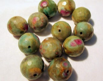 Ruby Fuchsite - faceted - pierced - ref928591 - 12mm - 12 x