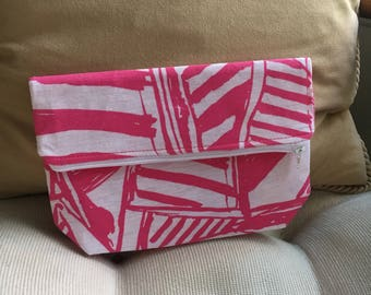 Pink Sailboats Foldover Clutch