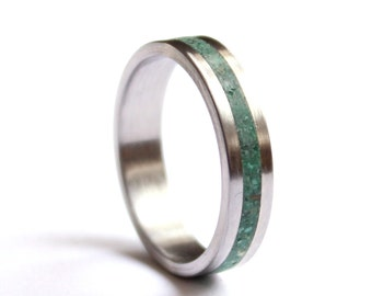 Stainless Steel Wedding Ring, Titanium Womens Band, Wedding Ring  with Crushed Malachite Inlay