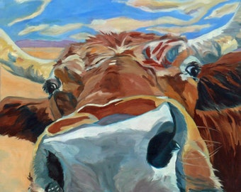The Boy Down the Street Cow Fine Art Painting