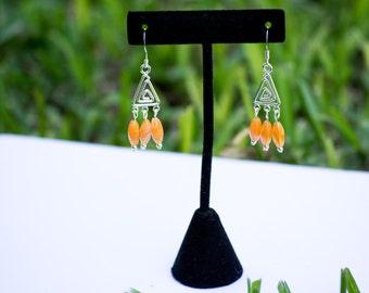 Orange Earrings, Swirl Earrings, Triangle Earrings, Drop Earrings, Dangle Earrings, Spiral Earrings, Chandelier Earrings, Beaded Earrings