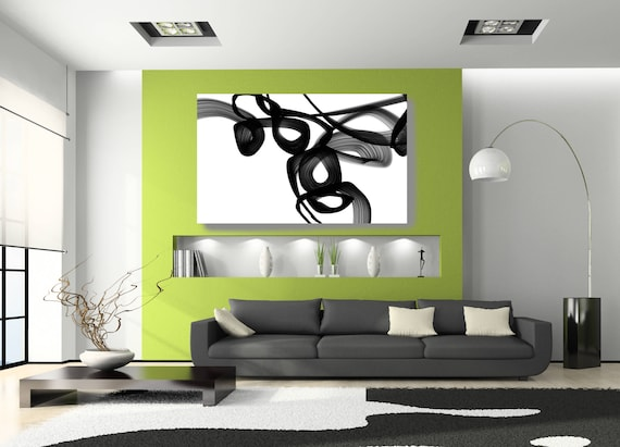 """Abstract Poetry in Black and White 3, Contemporary Unique Abstract Wall Decor, Large Contemporary Canvas Art Print up to 72"""" by Irena Orlov"""